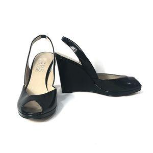 Michael Kors Vivian Black Patent Peep toe wedges!
